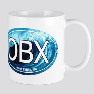 OBX Outer Banks NC Wave Oval Mug